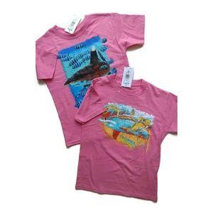 Guy Harvey Set of 2 Pink Shark T-Shirts Small 6/8
